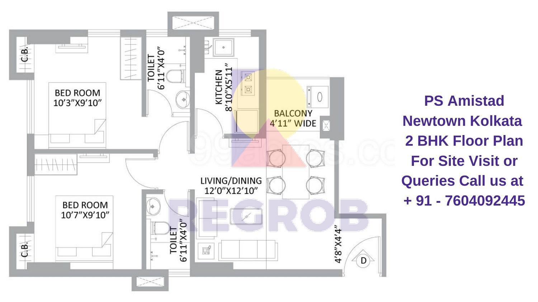 PS Amistad Newtown Kolkata 2 BHK Floor Plan