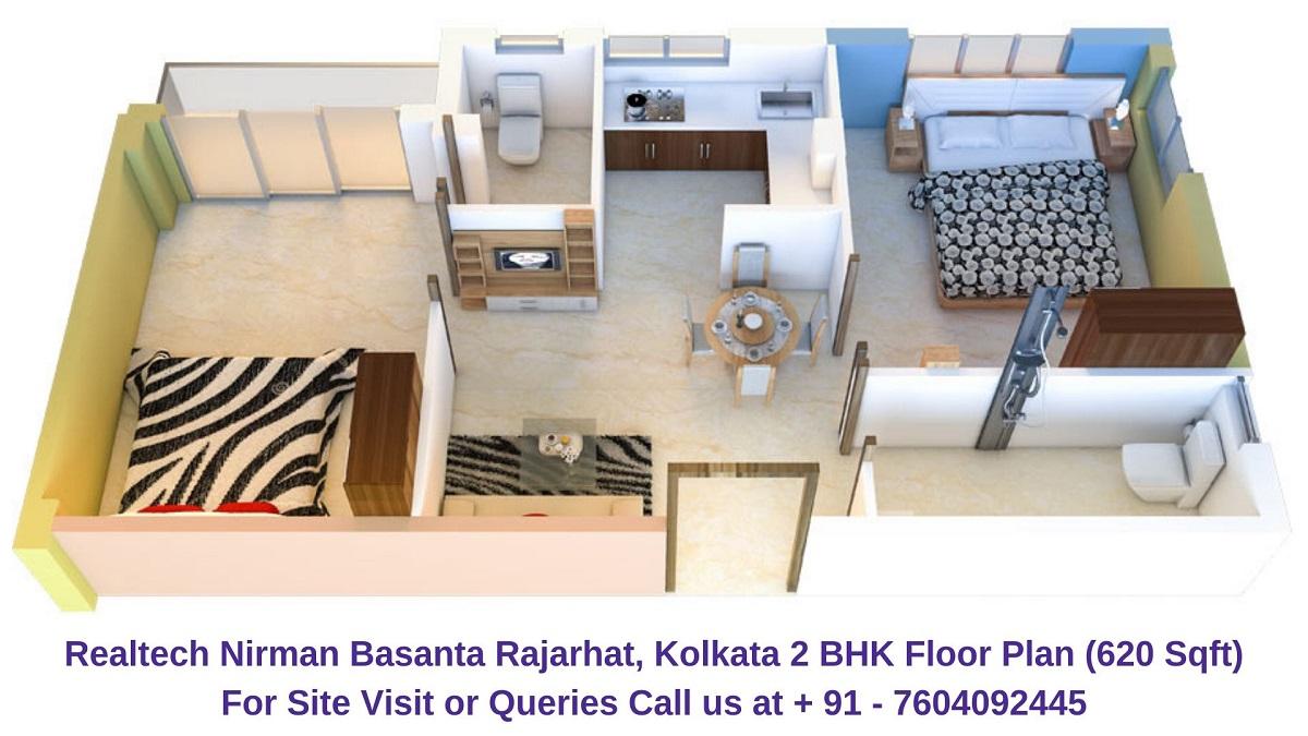 Realtech Nirman Basanta Rajarhat, Kolkata 2 BHK Floor Plan 620 Sqft
