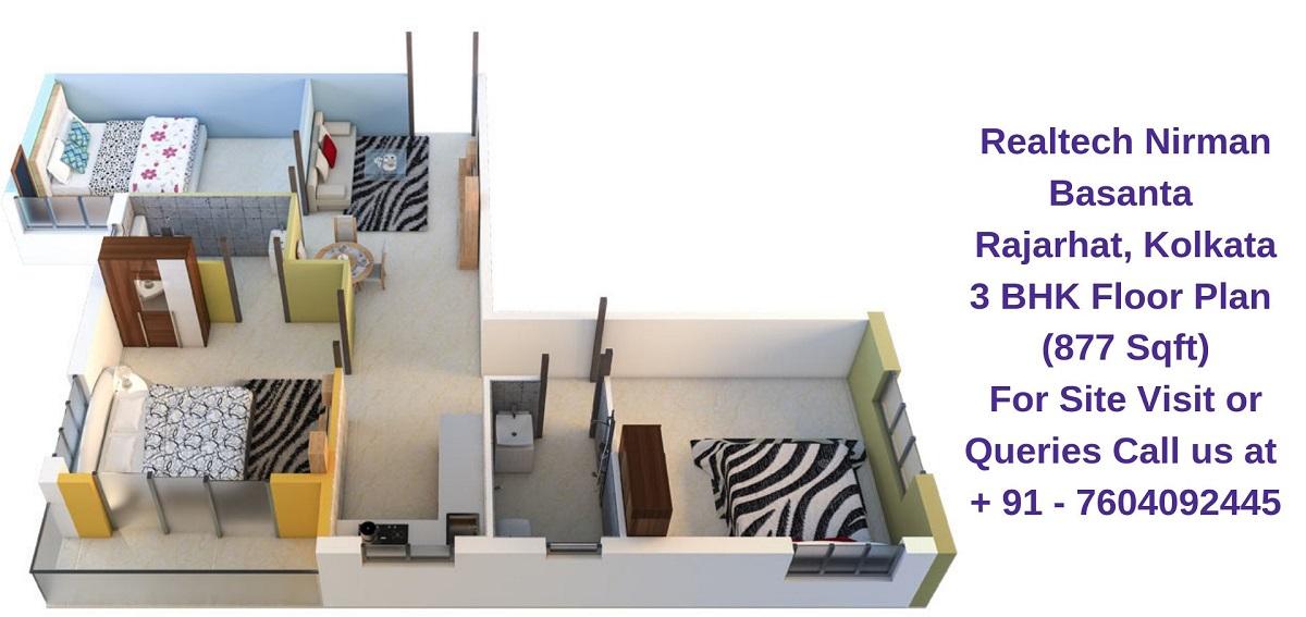 Realtech Nirman Basanta Rajarhat, Kolkata 3 BHK Floor Plan 877 Sqft