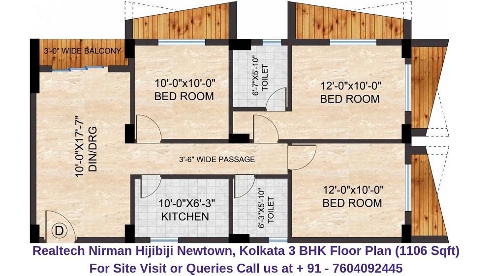 Realtech Nirman Hijibiji Newtown, Kolkata 3 BHK Floor Plan 1106 Sqft