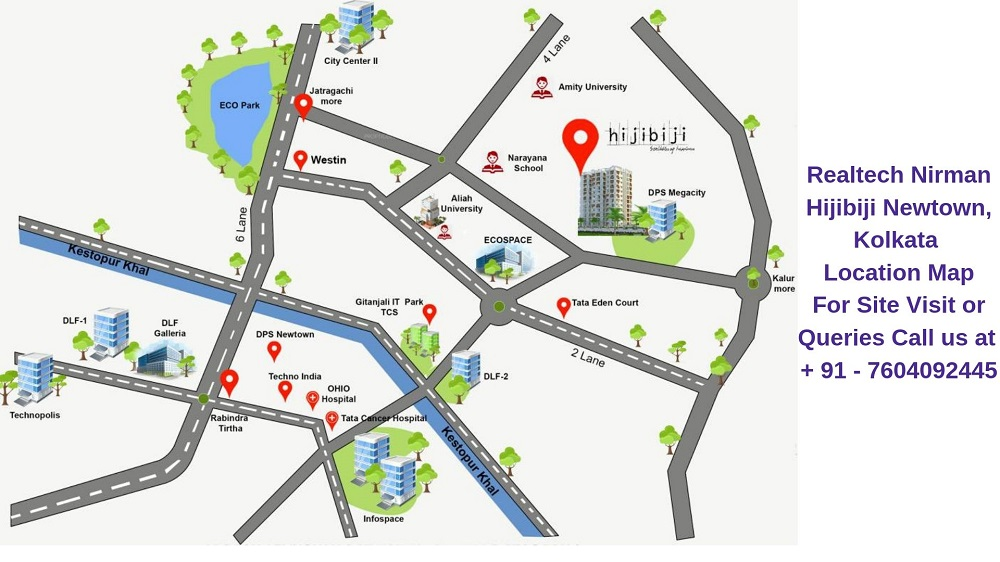 Realtech Nirman Hijibiji Newtown, Kolkata Location Map