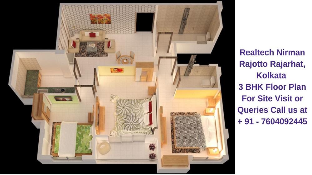 Realtech Nirman Rajotto Rajarhat, Kolkata 3 BHK Floor Plan