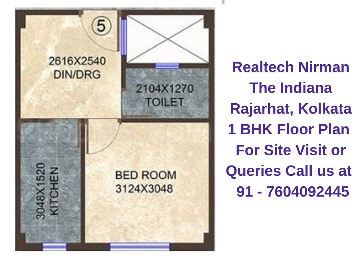 Realtech Nirman The Indiana Rajarhat, Kolkata 1 BHK Floor Plan