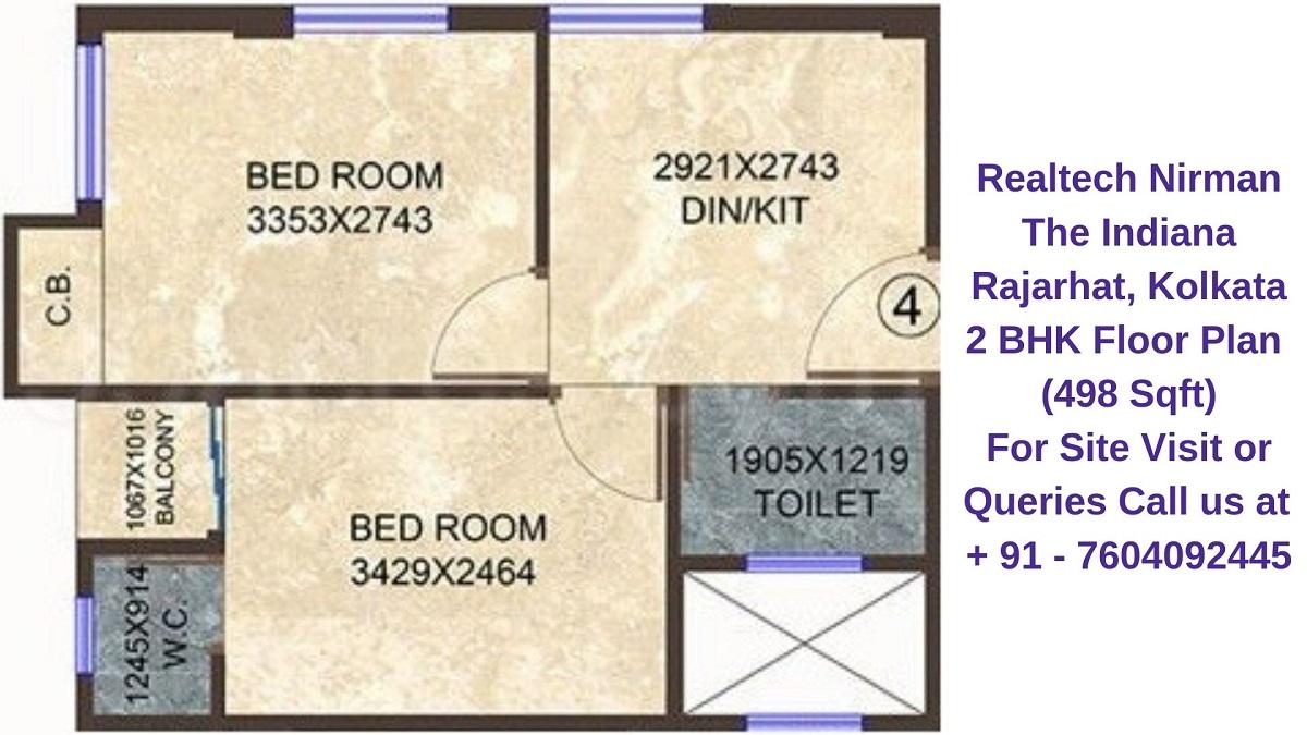 Realtech Nirman The Indiana Rajarhat, Kolkata 2 BHK Floor Plan 498 Sqft