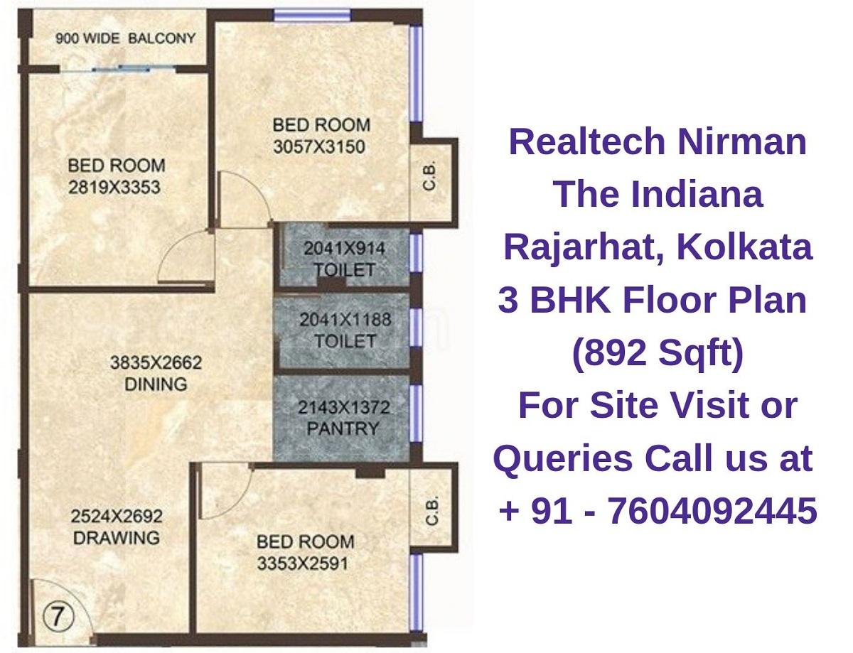 Realtech Nirman The Indiana Rajarhat, Kolkata 3 BHK Floor Plan 892 Sqft