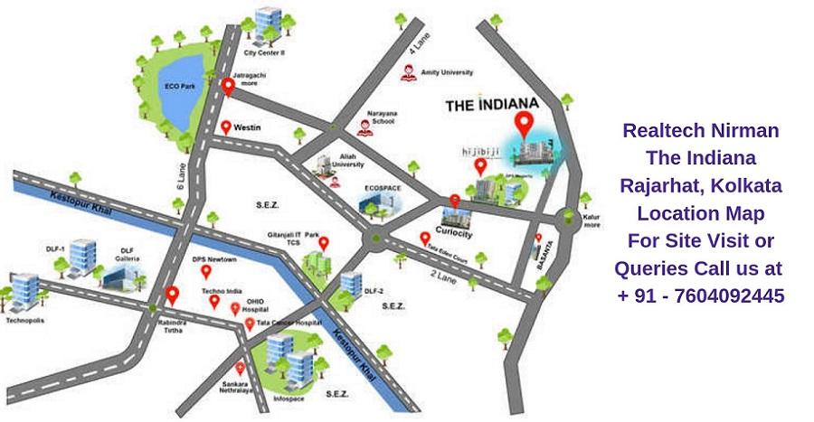 Realtech Nirman The Indiana Rajarhat, Kolkata Location Map