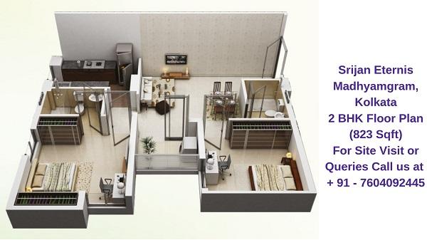 Srijan Eternis Madhyamgram, Kolkata 2 BHK Floor Plan 823 Sqft