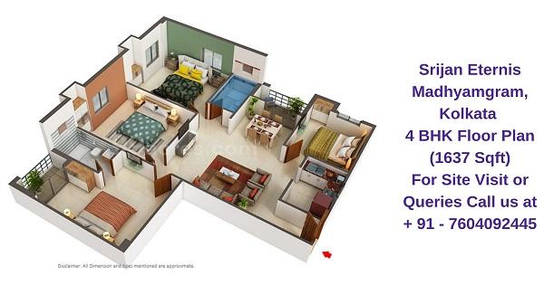 Srijan Eternis Madhyamgram, Kolkata 4 BHK Floor Plan 1637 Sqft