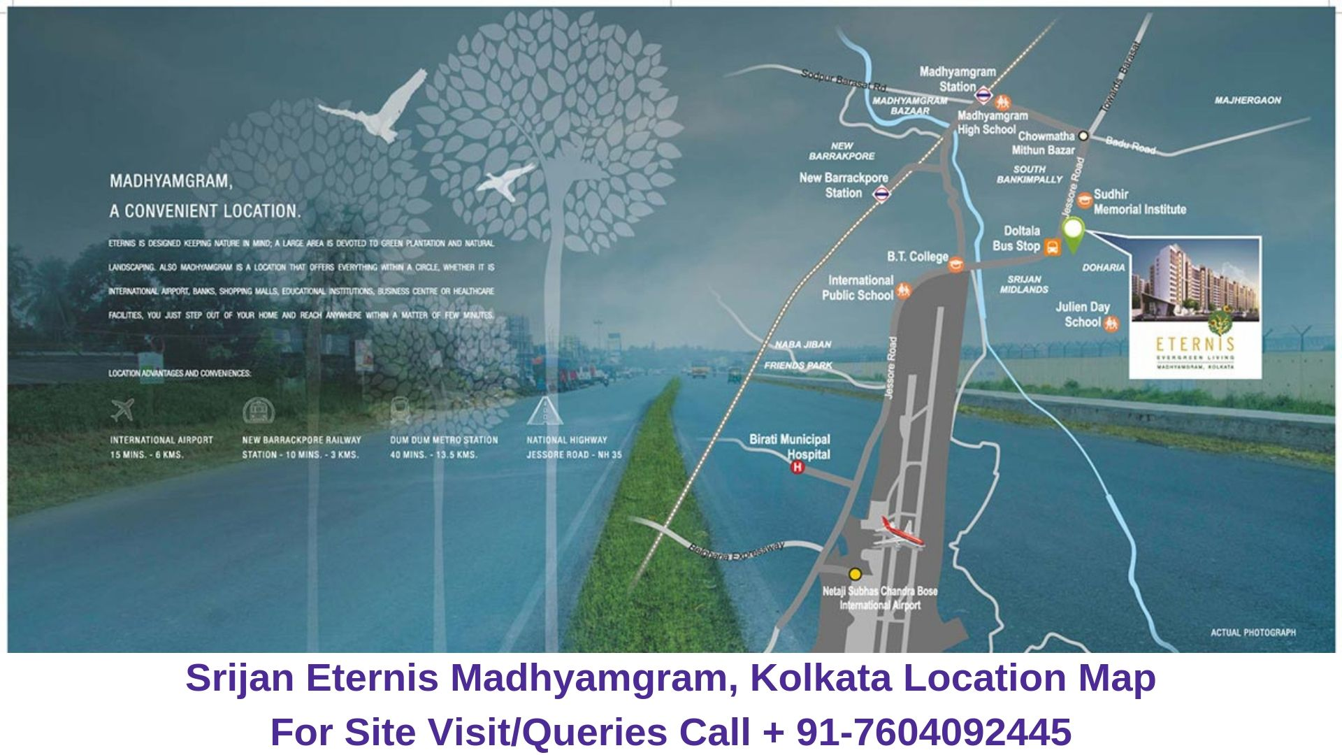 Srijan Eternis Madhyamgram, Kolkata Location Map