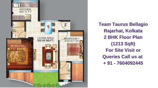 Team Taurus Bellagio Rajarhat, Kolkata 2 BHK Floor Plan 1213 Sqft