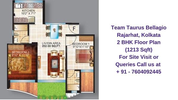 Team Taurus Bellagio Rajarhat, Kolkata 2 BHK Floor Plan 1213 Sqft