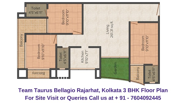 Team Taurus Bellagio Rajarhat, Kolkata 3 BHK Floor Plan