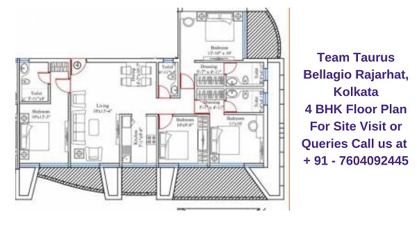 Team Taurus Bellagio Rajarhat, Kolkata 4 BHK Floor Plan