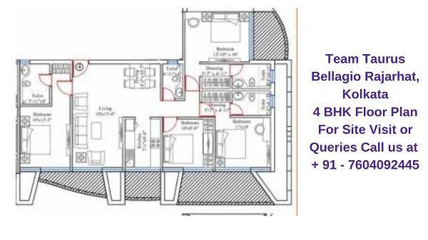Team Taurus Bellagio Rajarhat, Kolkata 4 BHK Floor Plan