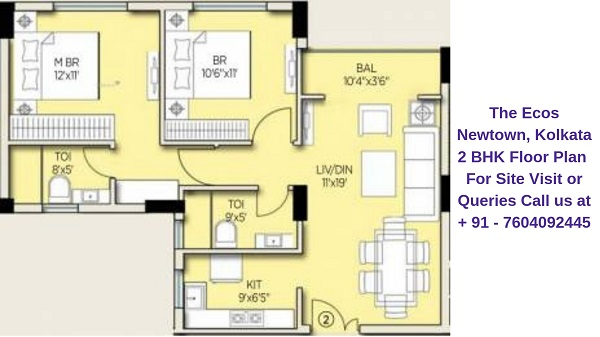The Ecos Newtown, Kolkata 2 BHK Floor Plan