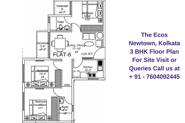 The Ecos Newtown, Kolkata 3 BHK Floor Plan
