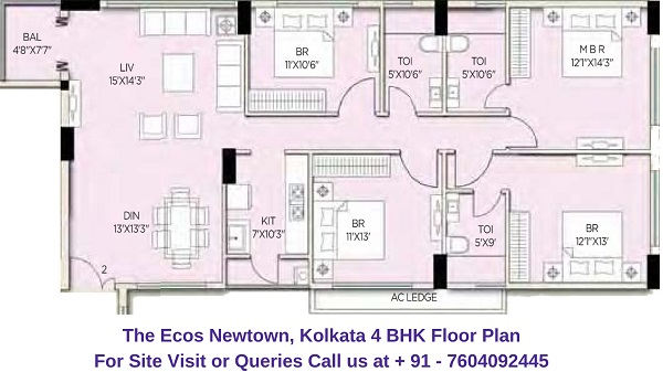 The Ecos Newtown, Kolkata 4 BHK Floor Plan
