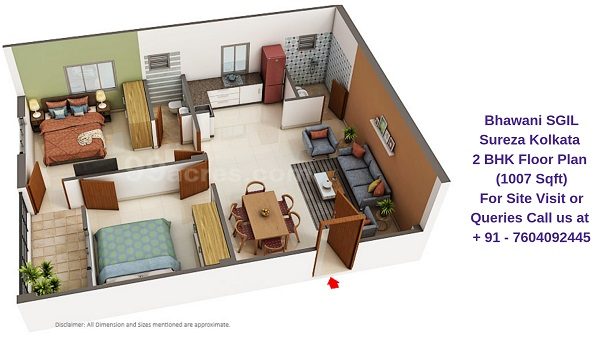 Bhawani SGIL Sureza Kolkata 2 BHK Floor Plan 1007 Sqft