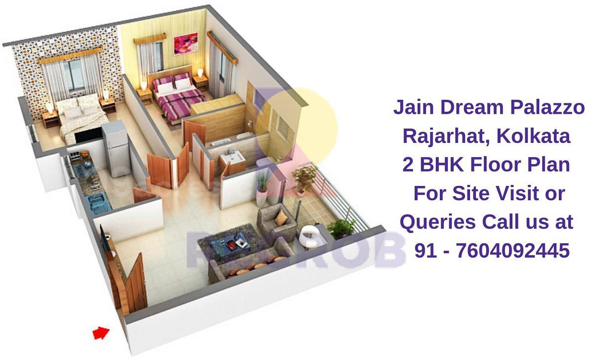 Jain Dream Palazzo Rajarhat, Kolkata 2 BHK Floor Plan
