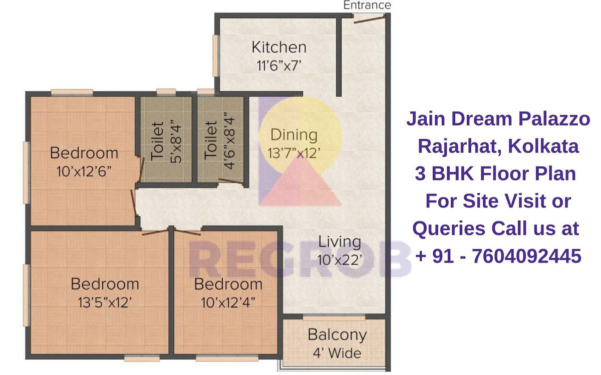 Jain Dream Palazzo Rajarhat, Kolkata 3 BHK Floor Plan