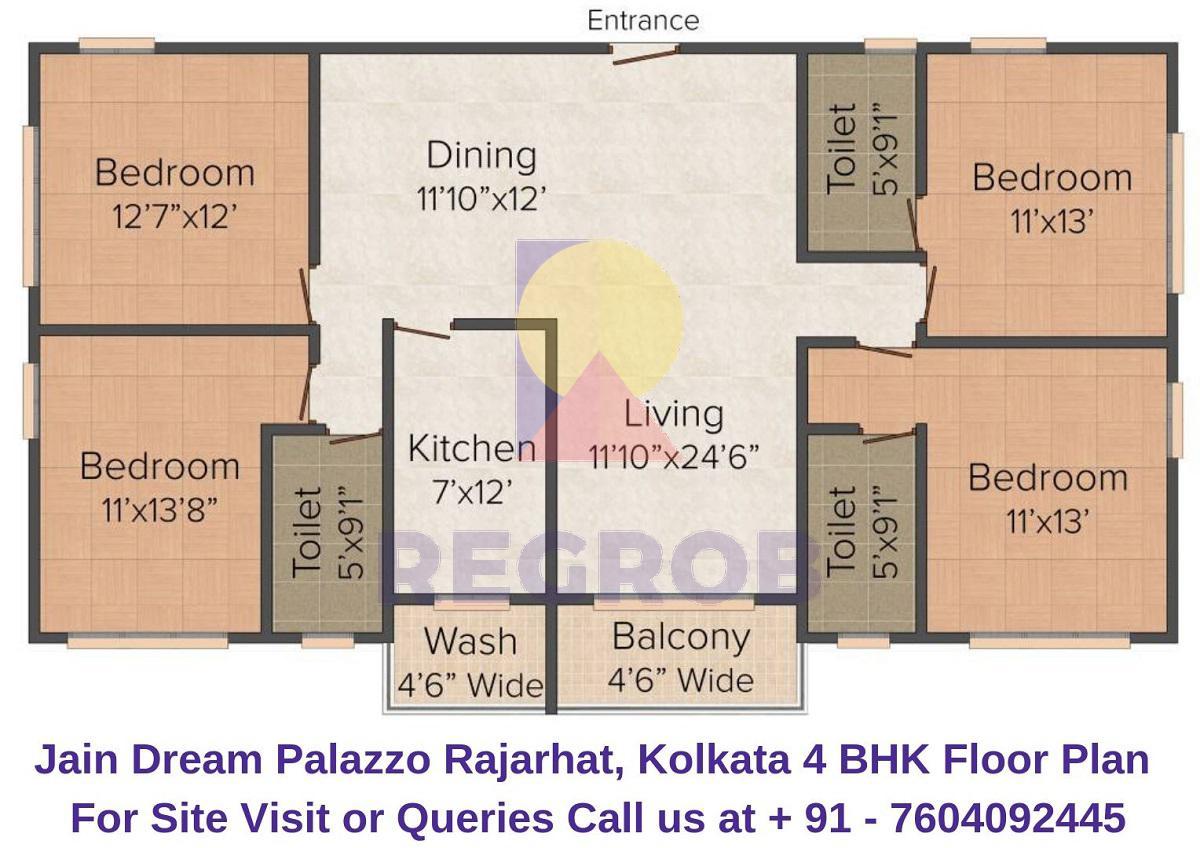 Jain Dream Palazzo Rajarhat, Kolkata 4 BHK Floor Plan