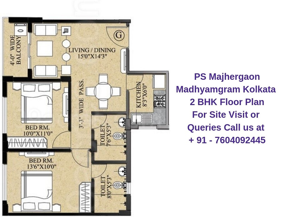 PS Majhergaon Madhyamgram Kolkata 2 BHK Floor Plan