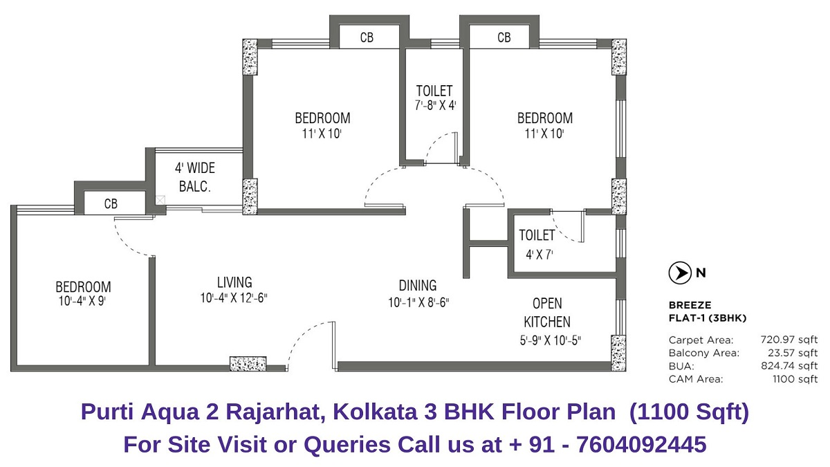 Purti Aqua 2 Rajarhat, Kolkata 3 BHK Floor Plan 1100 Sqft