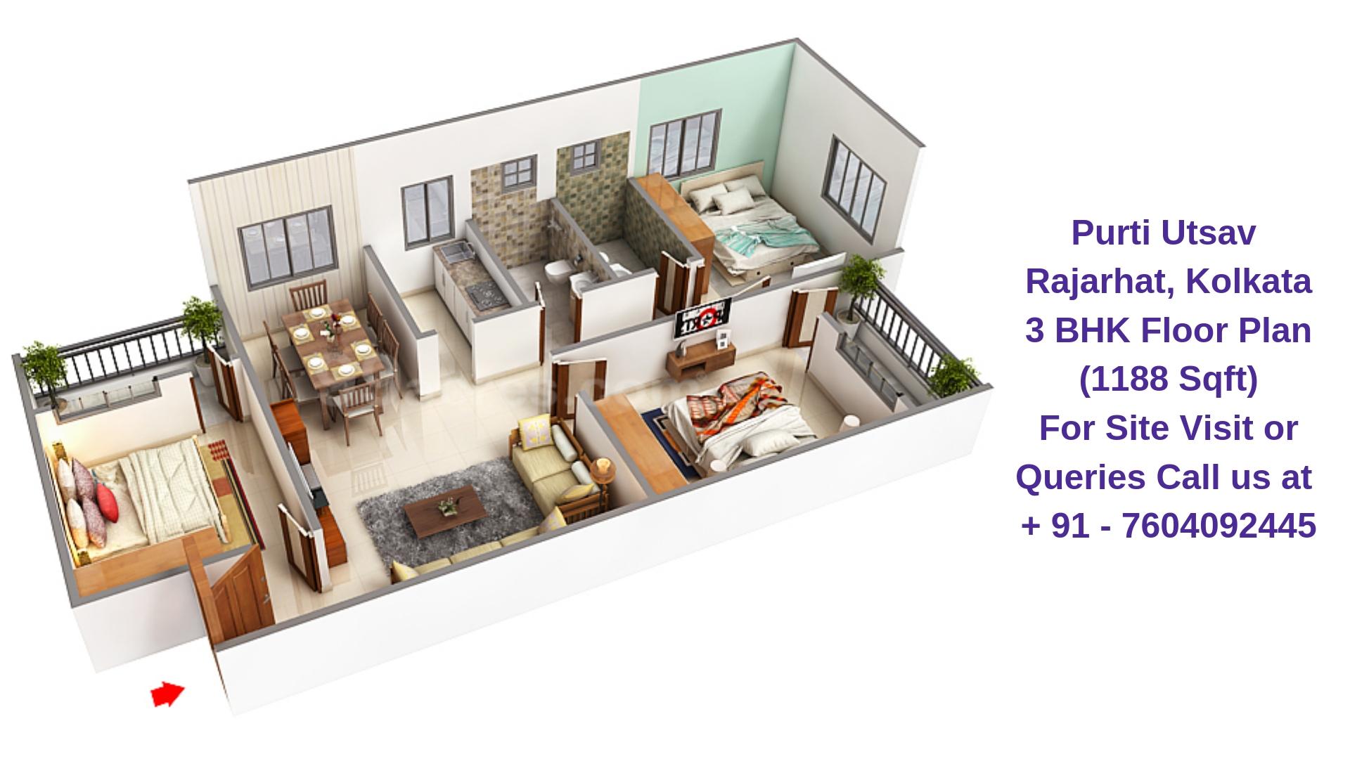 Purti Utsav Rajarhat Kolkata 3 BHK Floor Plan