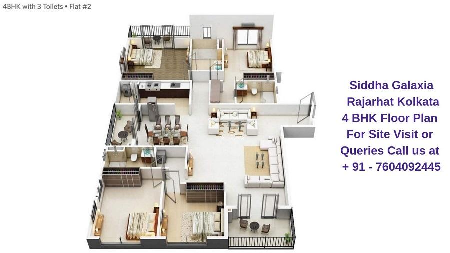Siddha Galaxia Rajarhat Kolkata 4 BHK Floor Plan