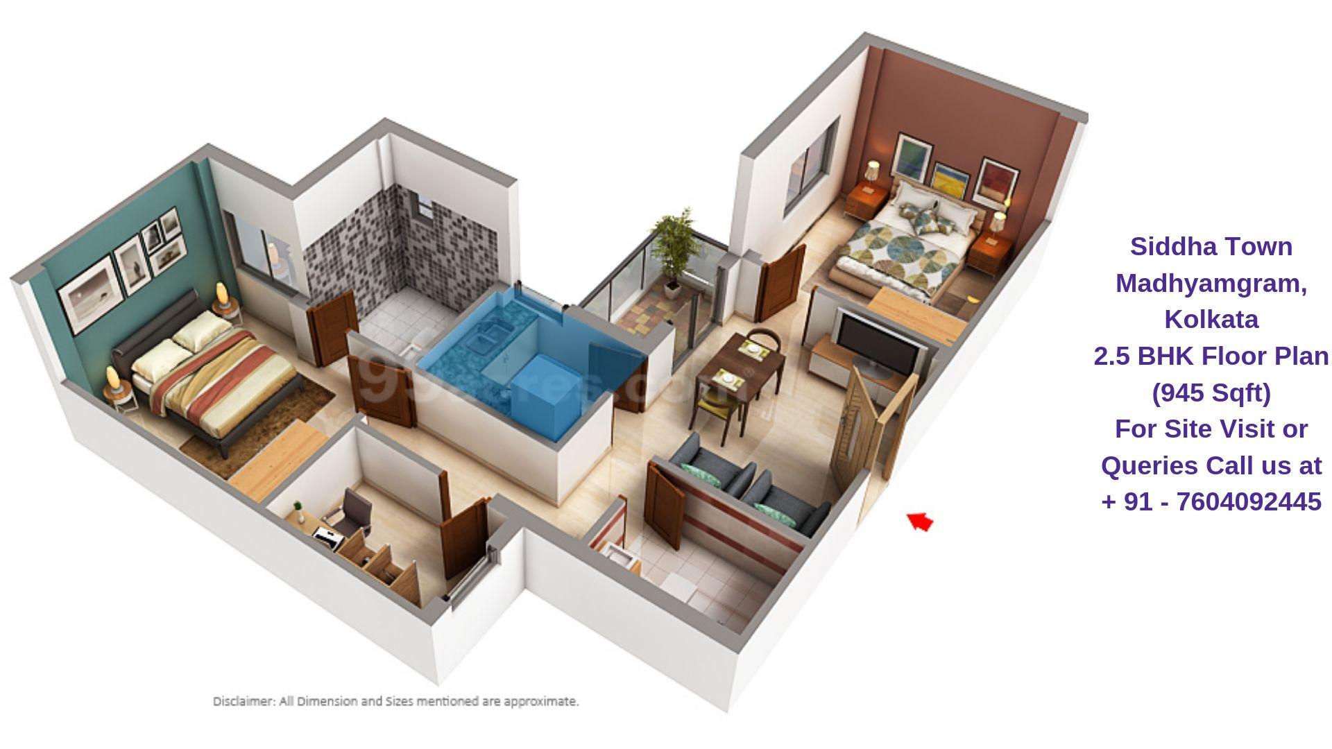 Siddha Town Madhyamgram, Kolkata 2.5 BHK Floor Plan 945 Sqft