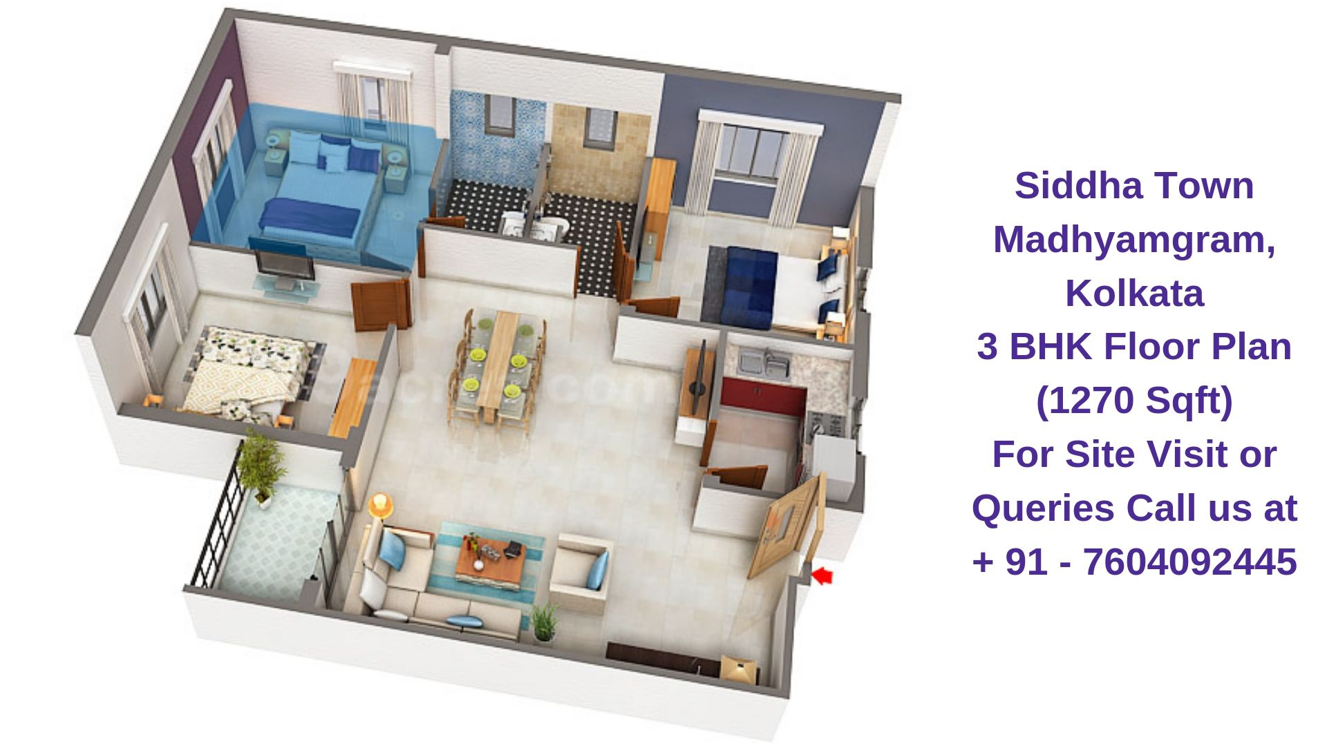 Siddha Town Madhyamgram, Kolkata 3 BHK Floor Plan 1270 Sqft
