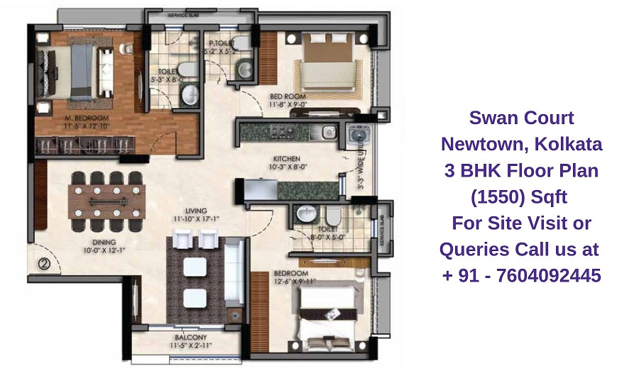 Swan Court Newtown, Kolkata 3 BHK Floor Plan 1550 Sqft
