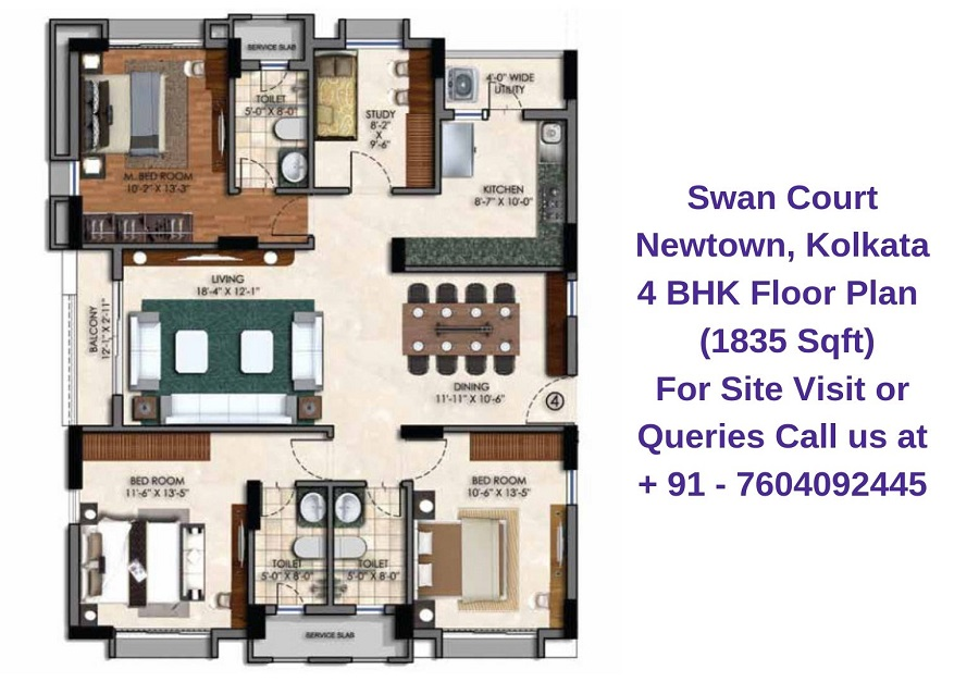 Swan Court Newtown, Kolkata 4 BHK Floor Plan 1835 Sqft