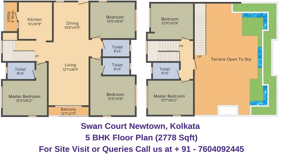 Swan Court Newtown, Kolkata 5 BHK Floor Plan 2778 Sqft