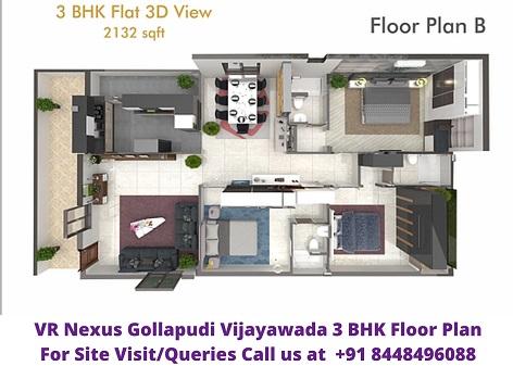 VR Nexus Gollapudi Vijayawada 3BHK Floo Plan
