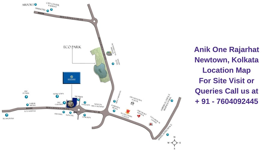 Anik One Rajarhat Newtown, Kolkata Location Map
