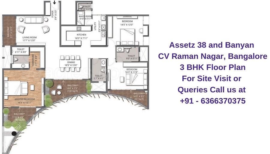Assetz 38 and Banyan CV Raman Nagar, Bangalore 3 BHK Floor Plan