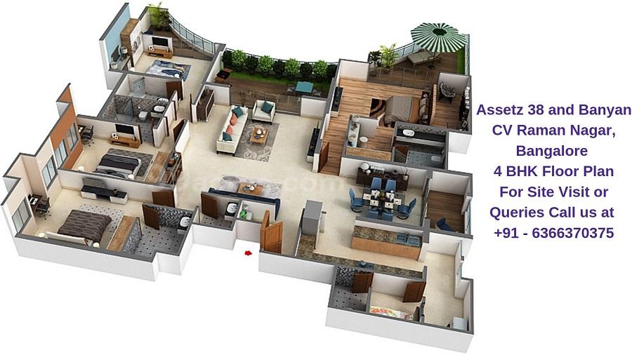 Assetz 38 and Banyan CV Raman Nagar, Bangalore 4 BHK Floor Plan