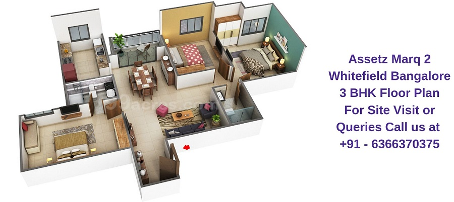 Assetz Marq 2 Whitefield Bangalore 3 BHK Floor Plan