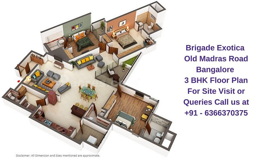 Brigade Exotica Old Madras Road Bangalore 3 BHK Floor plan