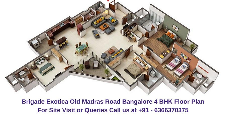 Brigade Exotica Old Madras Road Bangalore 4 BHK Floor plan