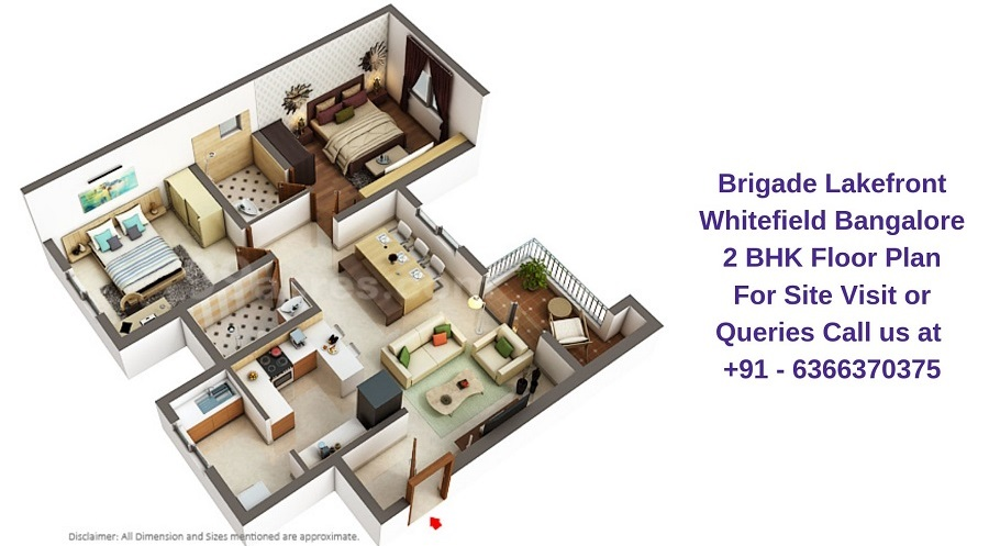 Brigade Lakefront Whitefield Bangalore 2 BHK Floor Plan
