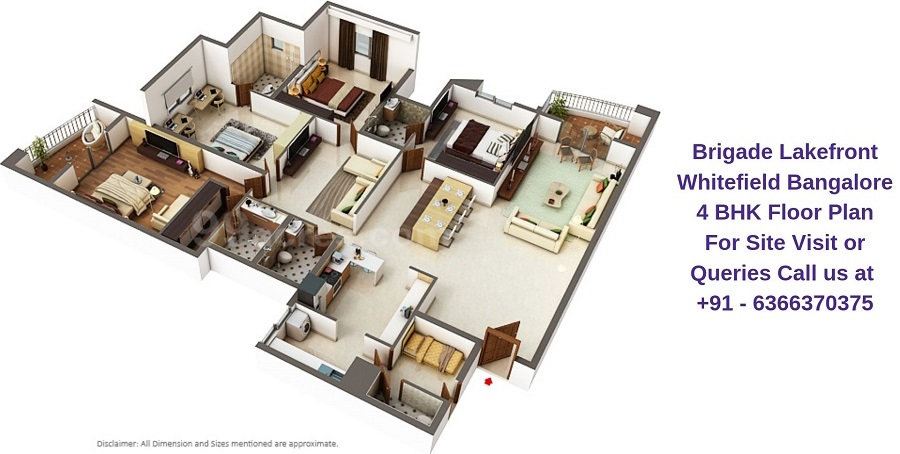 Brigade Lakefront Whitefield Bangalore 4 BHK Floor Plan