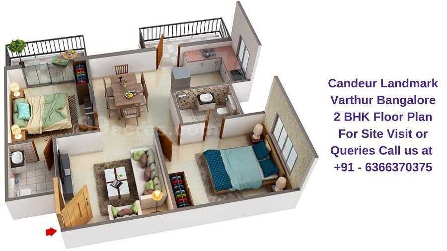 Candeur Landmark Varthur Bangalore 2 BHK Floor Plan