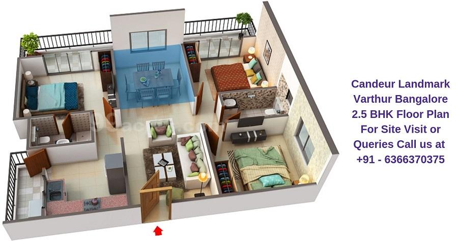 Candeur Landmark Varthur Bangalore 2.5 BHK Floor Plan