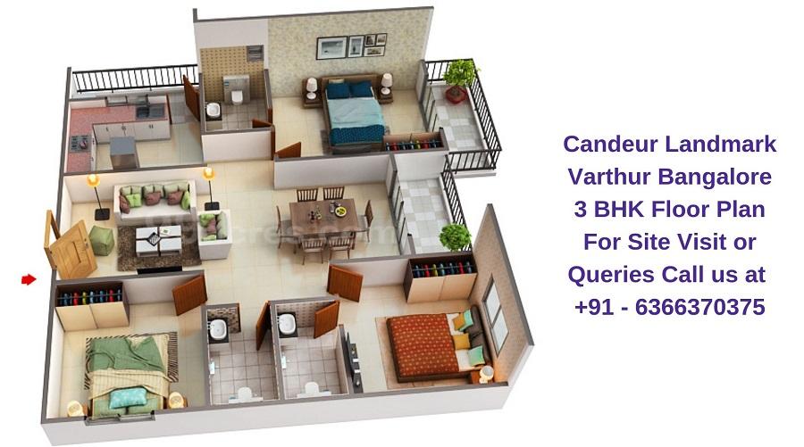 Candeur Landmark Varthur Bangalore 3 BHK Floor Plan