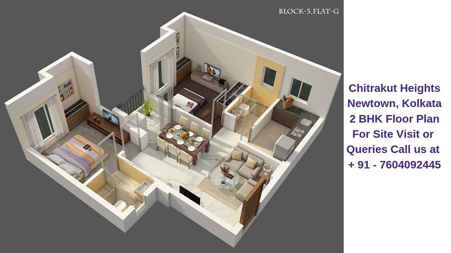 Chitrakut Heights Newtown, Kolkata 2 BHK Floor Plan
