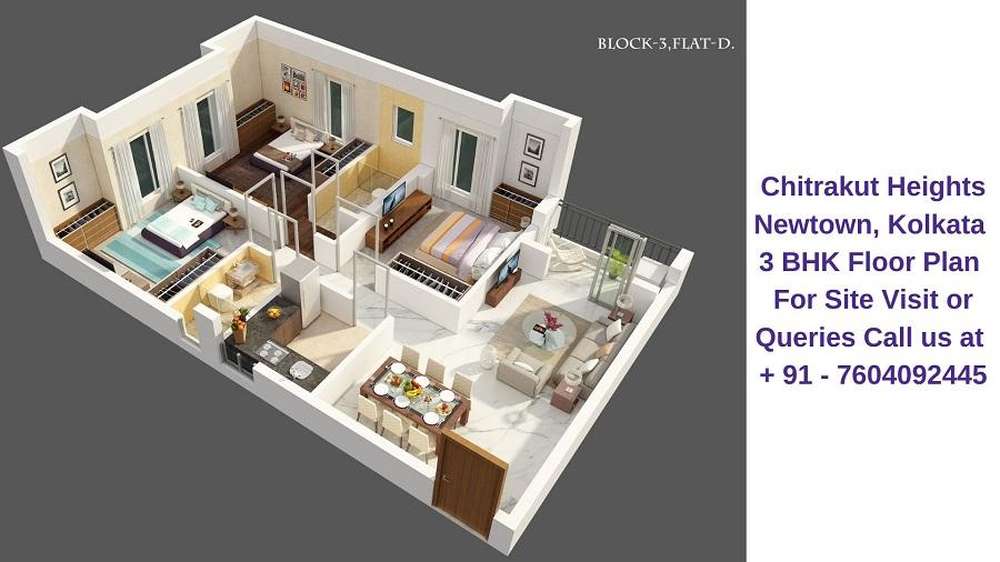 Chitrakut Heights Newtown, Kolkata 3 BHK Floor Plan