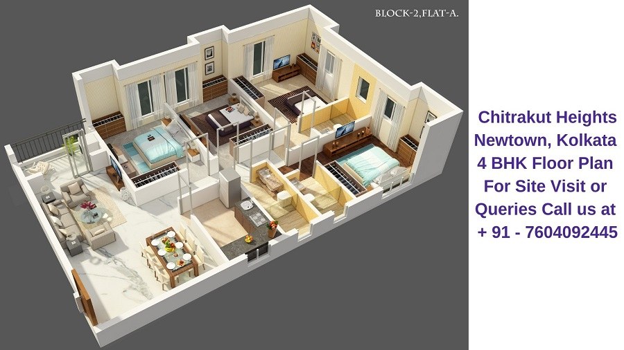 Chitrakut Heights Newtown, Kolkata 4 BHK Floor Plan