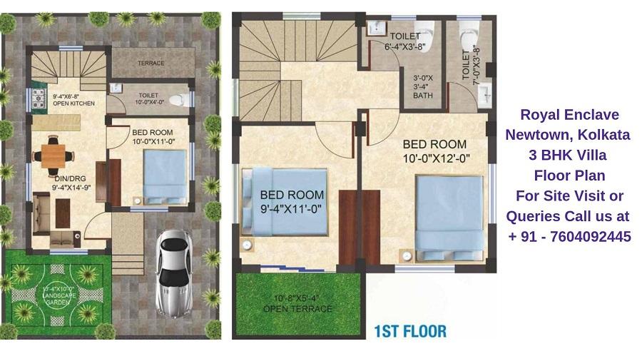 Dharitri Royal Enclave Newtown, Kolkata 3 BHK Villa Floor Plan